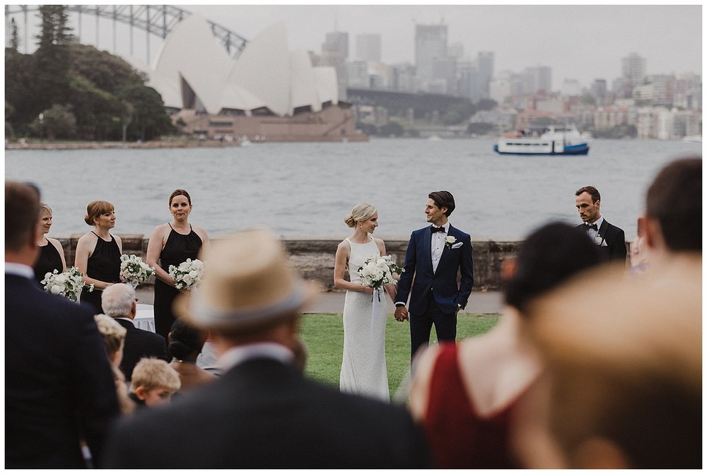 Bride and Groom at their Botanic Gardens Wedding on the iconic Sydney Harbour