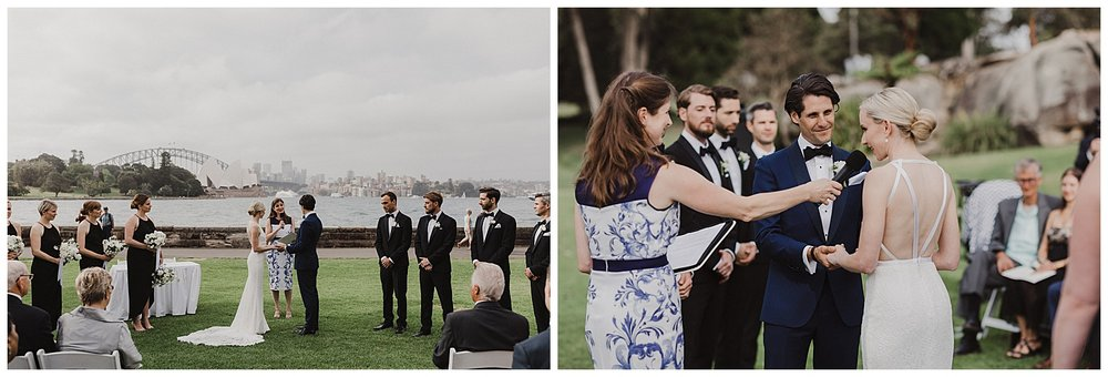 Bride and Groom exchange vows at the Royal Botanic Gardens wedding ceremony