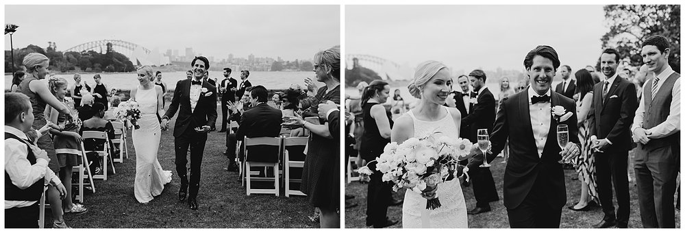 Candid moments as the bride and groom walk down the aisle in the Royal Botanic Gardens Sydney
