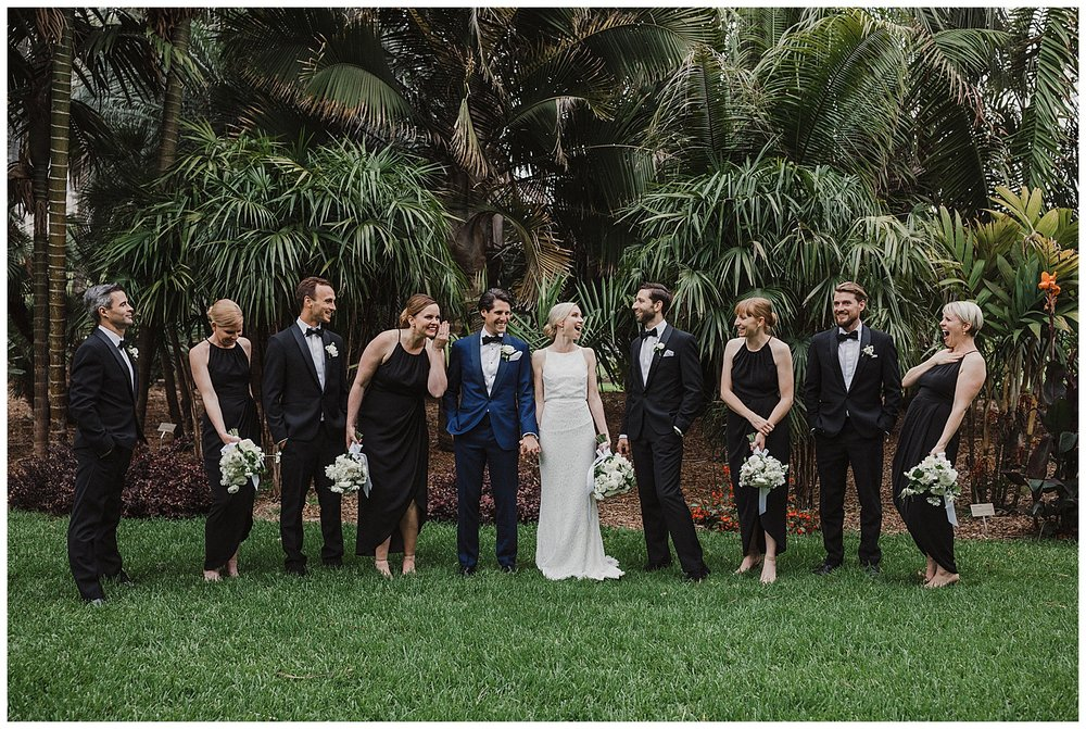 Bridal Party enjoys fun and relaxed portraits at the Sydney Royal Botanic Gardens