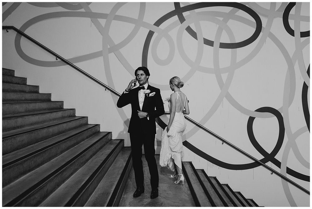 Candid moment at the MCA Sydney before couple's Wedding Reception