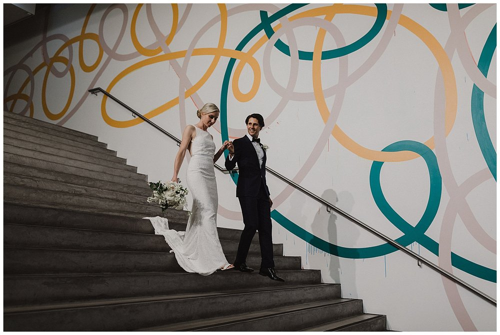 Bride and Groom take portraits at the MCA Sydney