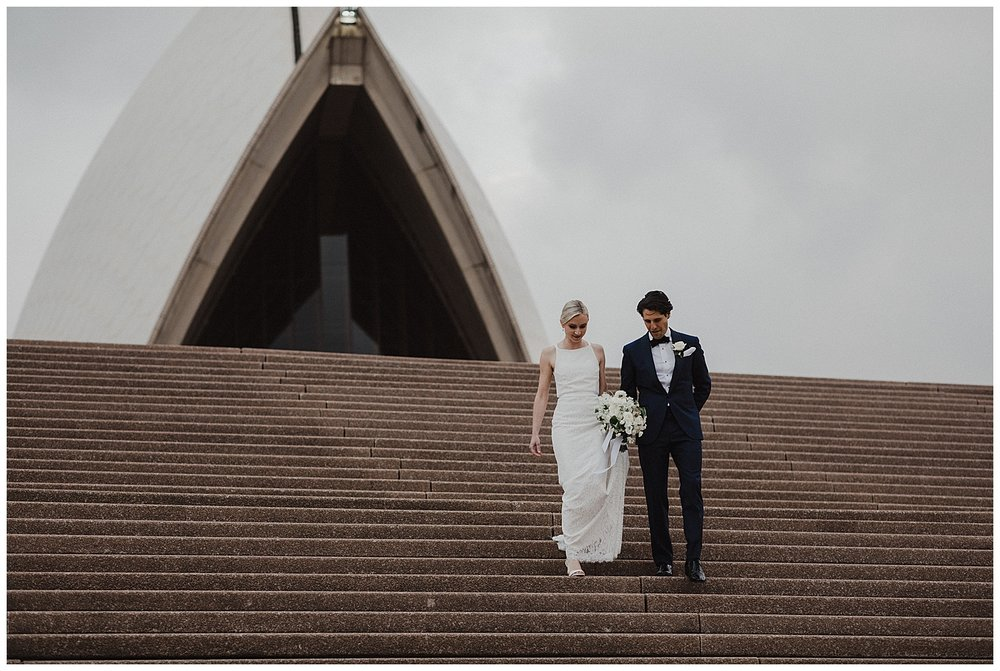 Bride and Groom at the Sydney Opera House for their wedding portraits
