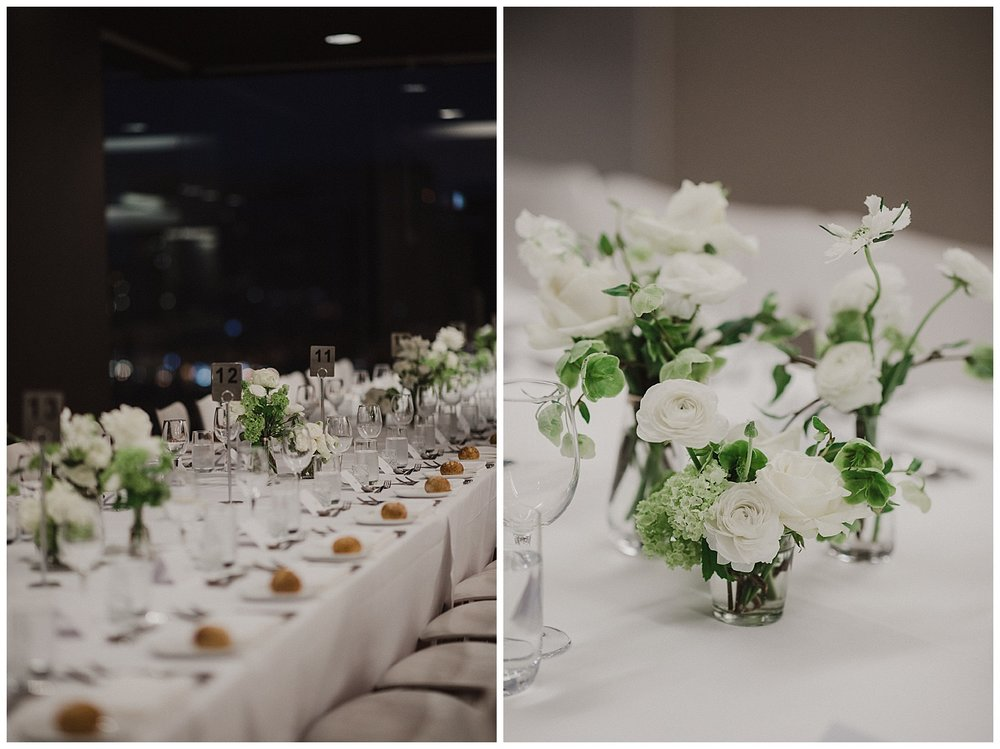 Table decorations at the MCA Sydney with flowers by Poho