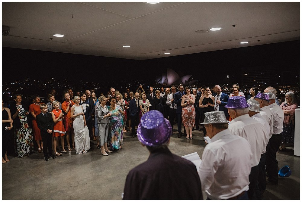Candid wedding reception moment at the MCA in Sydney