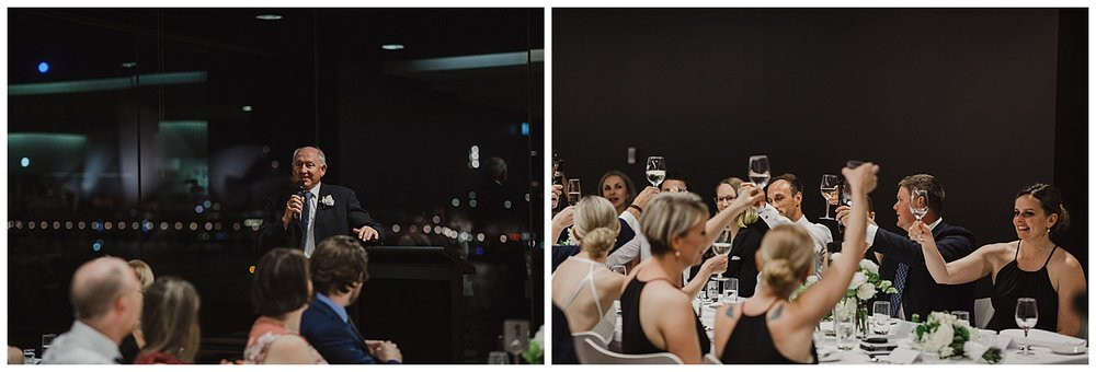 Father of the Bride toasts the new couple during their wedding reception at the MCA Sydney