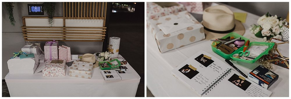 Gift table and guest book wedding reception details at the MCA Sydney