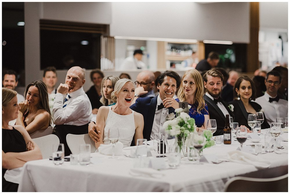 Bride's reaction to speeches at the MCA Sydney