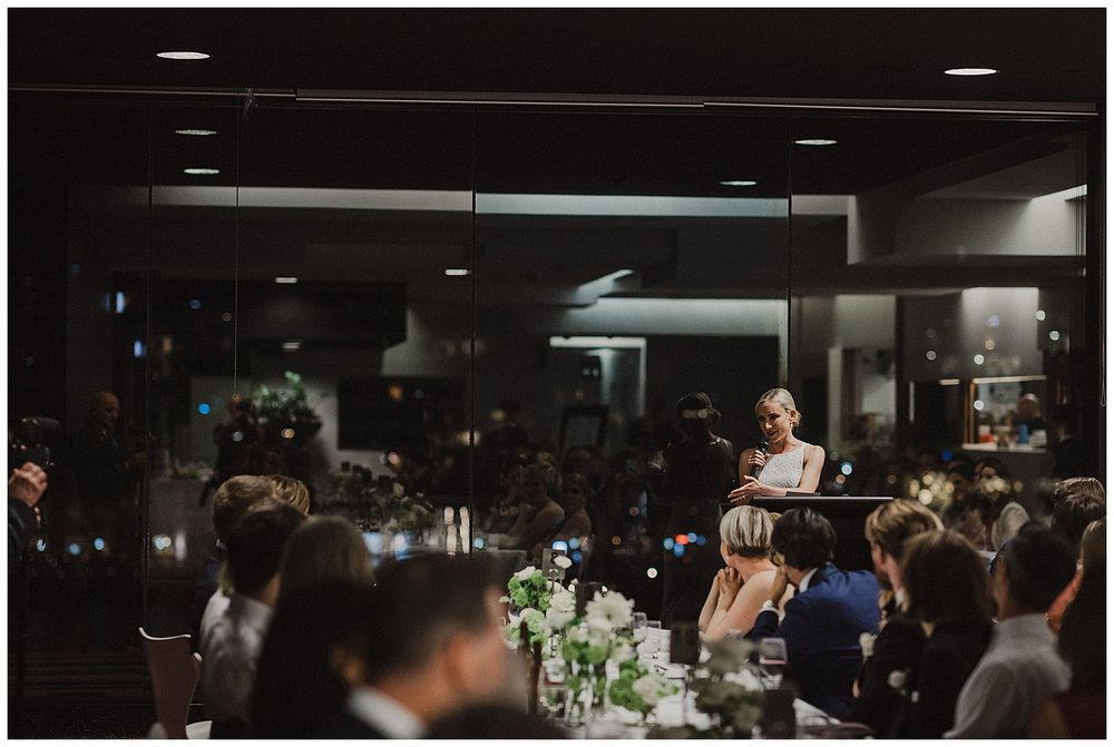 Bride thanks guests during Sydney Wedding Reception at the MCA