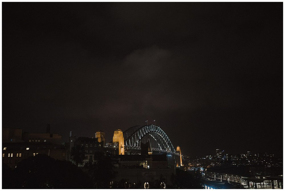 Sydney Harbour Bridge by night from the MCA terrace.