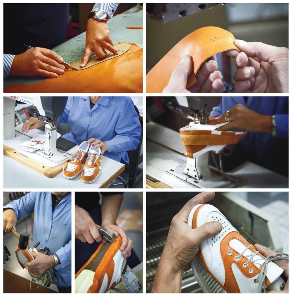 Skilled shoemakers handcrafting ALODD's Montebello Line footwear at our workshop in Italy.