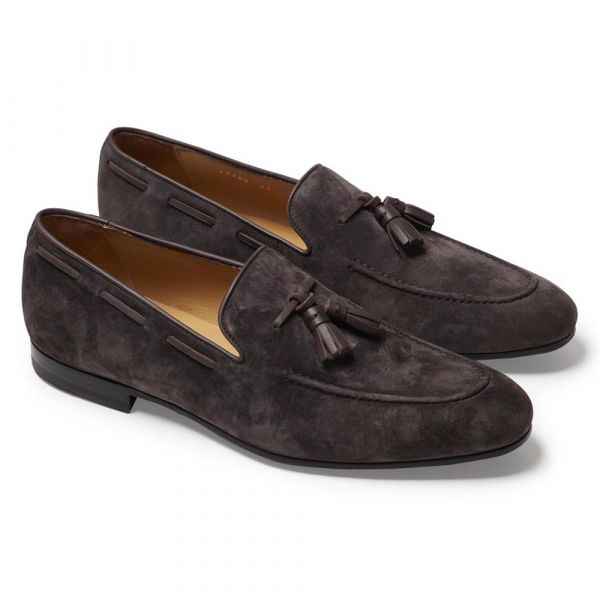 ALODD    CHOCOLATE BROWN ALESSANDRO SUEDE TASSEL LOAFERS  € 370