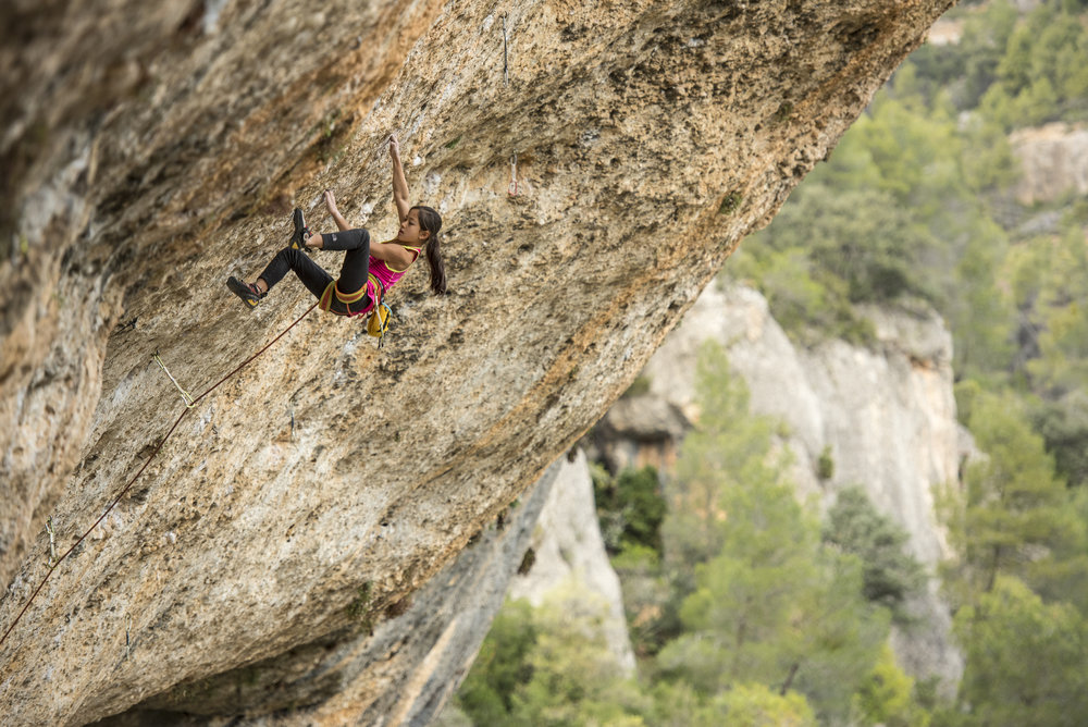 ANGIE SCARTH-JOHNSON At the age of 7 was the youngest person  in the world  to have sent a grade 31 climb Photographer: Simon Carter