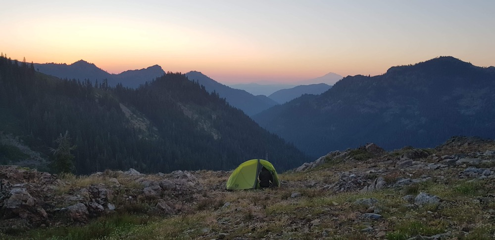 Heather Porter camping on the Pacific Crest Trail