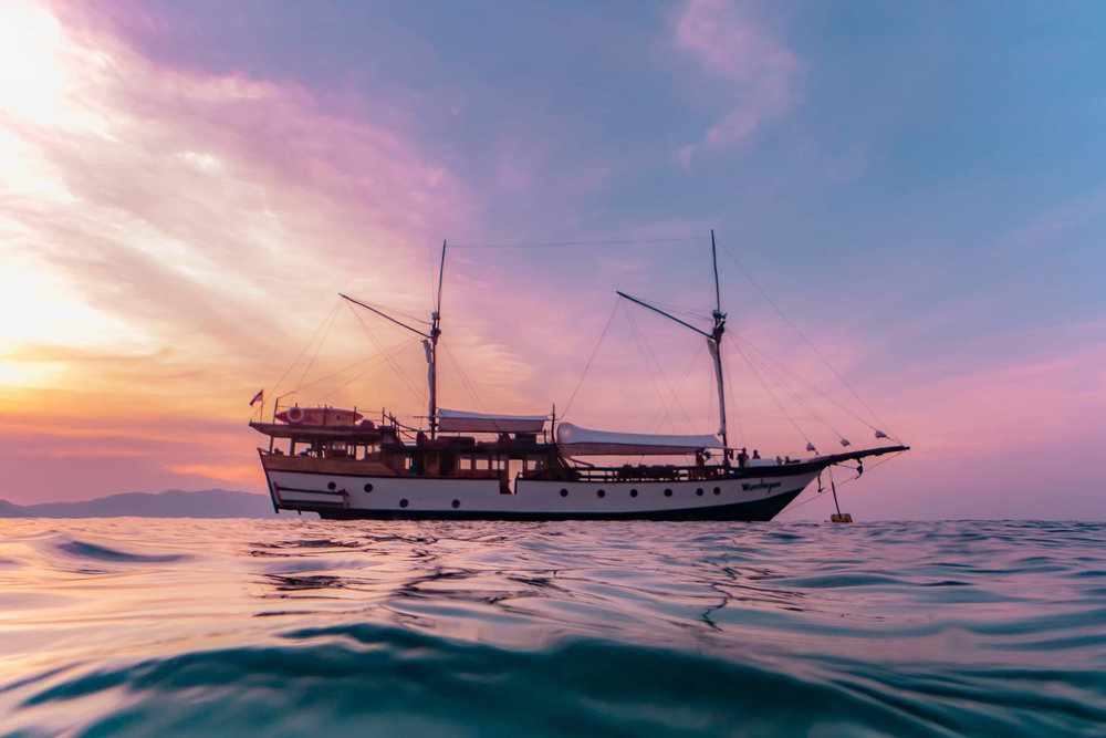 Komodo diving liveaboard at sunset