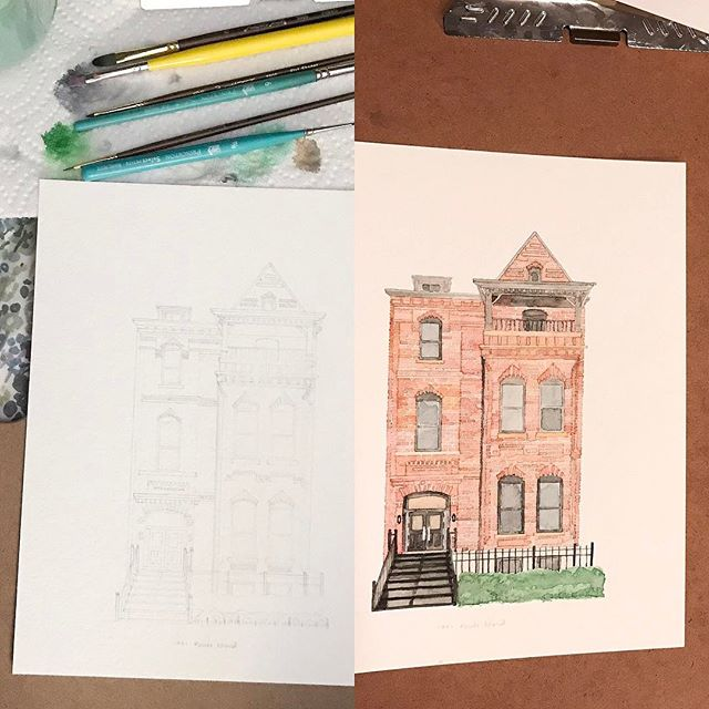sketch + paint #architecturalportrait #dc #watercolor #etsy #etsyseller #etsyshop #create @ekirouac