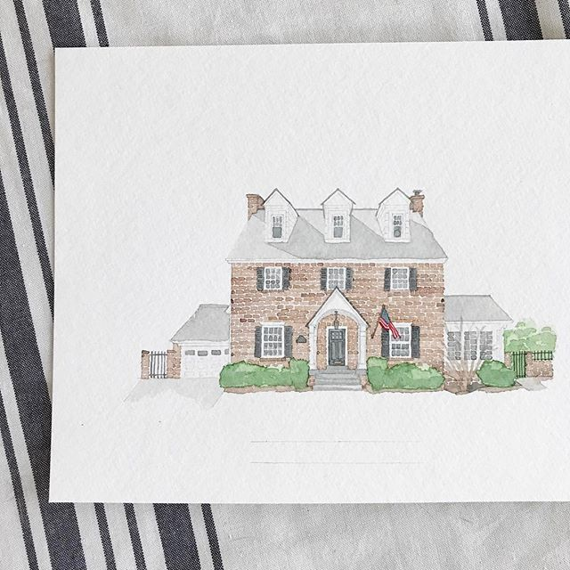 This beautiful Maryland home makes me so happy! 🇺🇸 #americanflag #marylandhomes #watercolor #homeportrait #etsy #etsyshop #etsyseller @erinkirouacdesignco @ekirouac