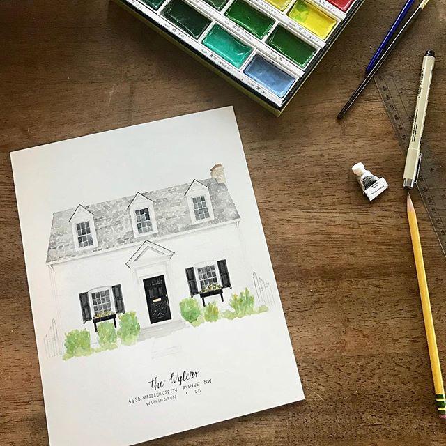 In love with this little white house! . #whitehouseblackshutters #cottage #classic #home #homeportrait #watercolor #etsy #etsyseller #dc #nashville #nashvilleartist . @ekirouac  @erinkirouacdesignco