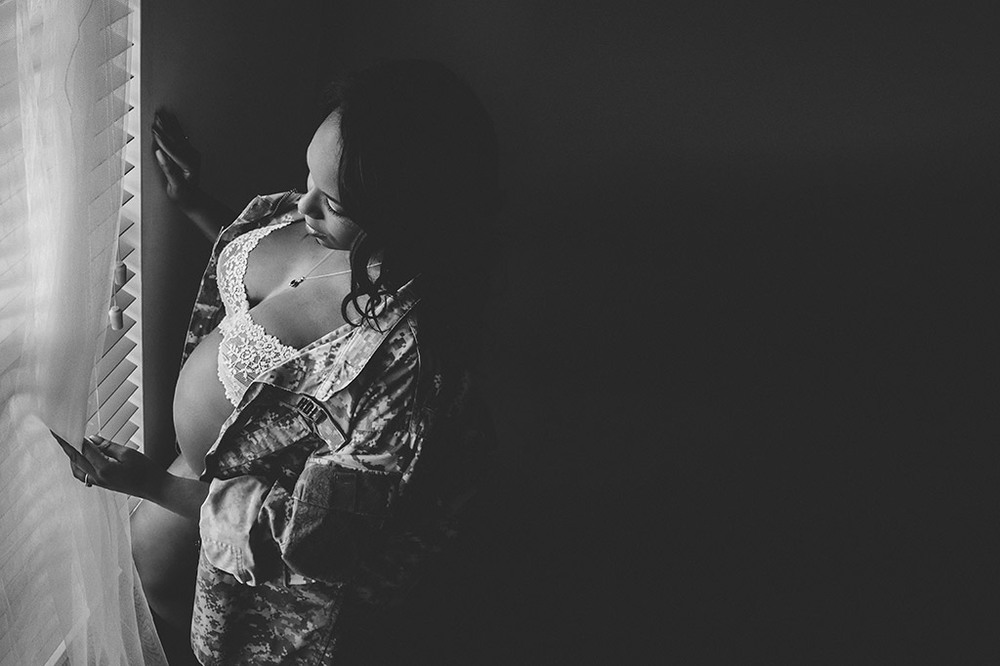 Army Wife In-home Boudoir Maternity Session in Atlanta by Chanel G. Photography