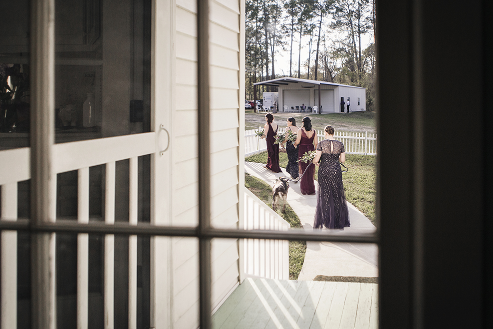 Statesboro-wedding-color-coordinated-bridesmaids-in-woods-by-Atlanta-photographer-Chanel-French