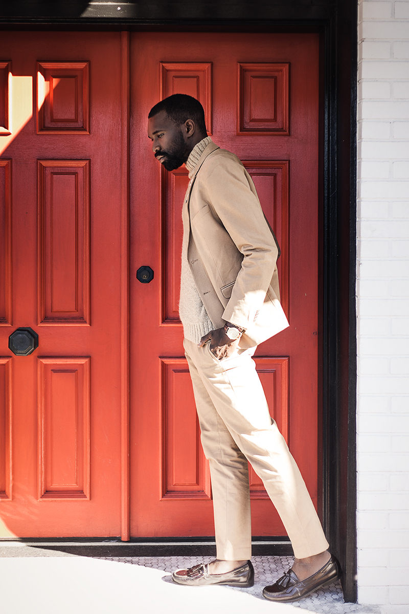 African-American-male-model-with-beard-in-beige-suit-by-photographer-Chanel-French