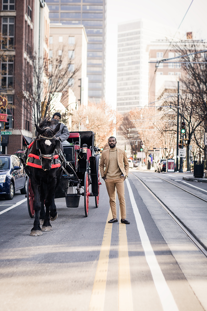 Myke-B-The-Label-Atlanta-male-model-in-street-with-horse-ride-by-photographer-Chanel-French