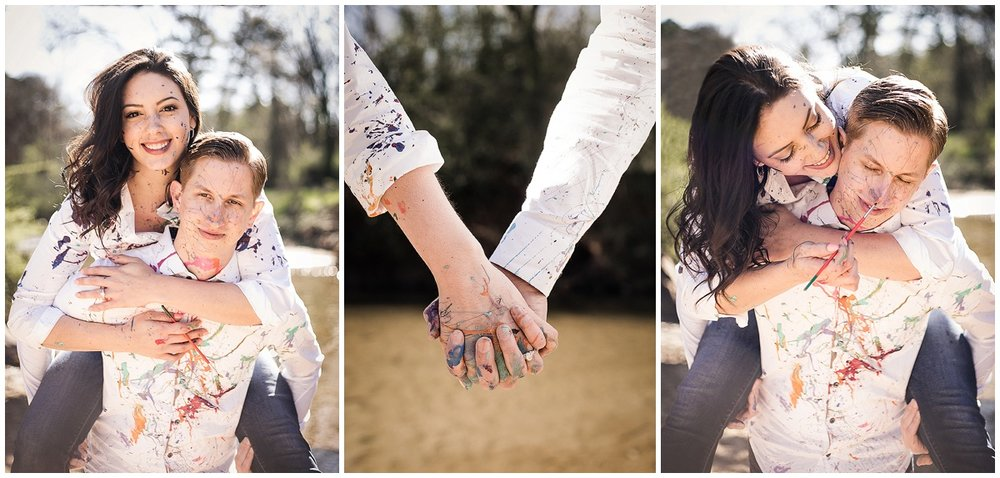 Morningside-Nature-Preserve-paint-fight-engagement-session-by-Atlanta-photographer-Chanel-French