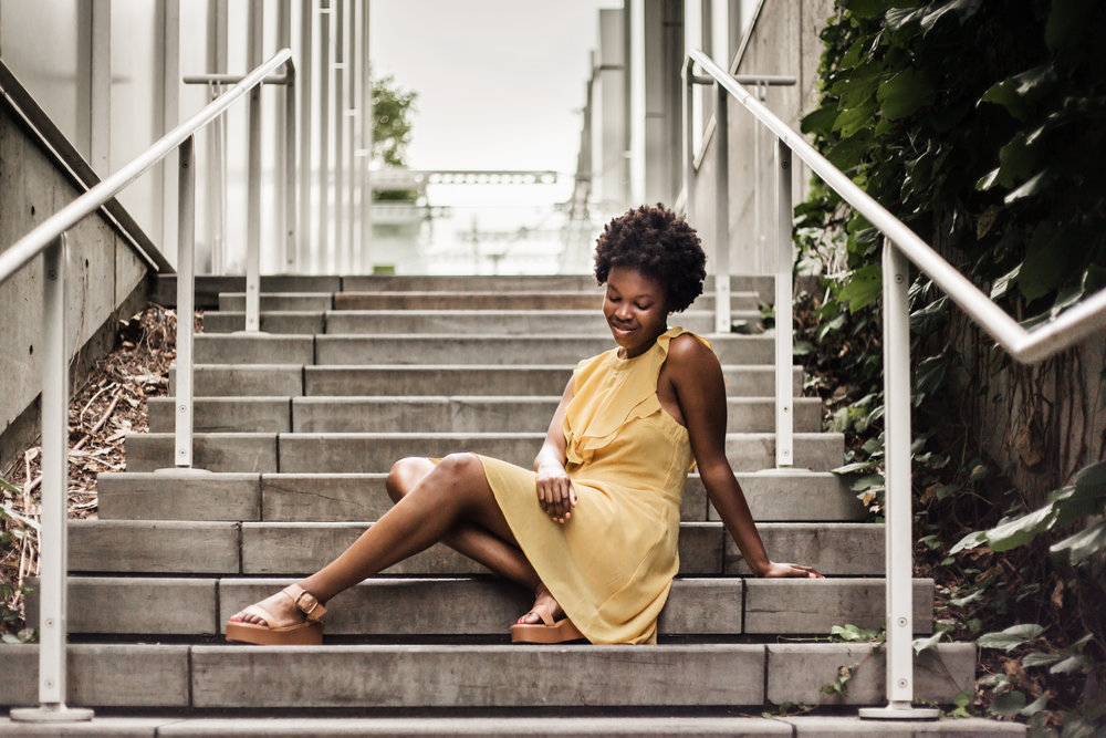 Woman-in-yellow-sundress-by-Dressup-at-city-High-Museum-by-Atlanta-workshop-photographer-Chanel-French