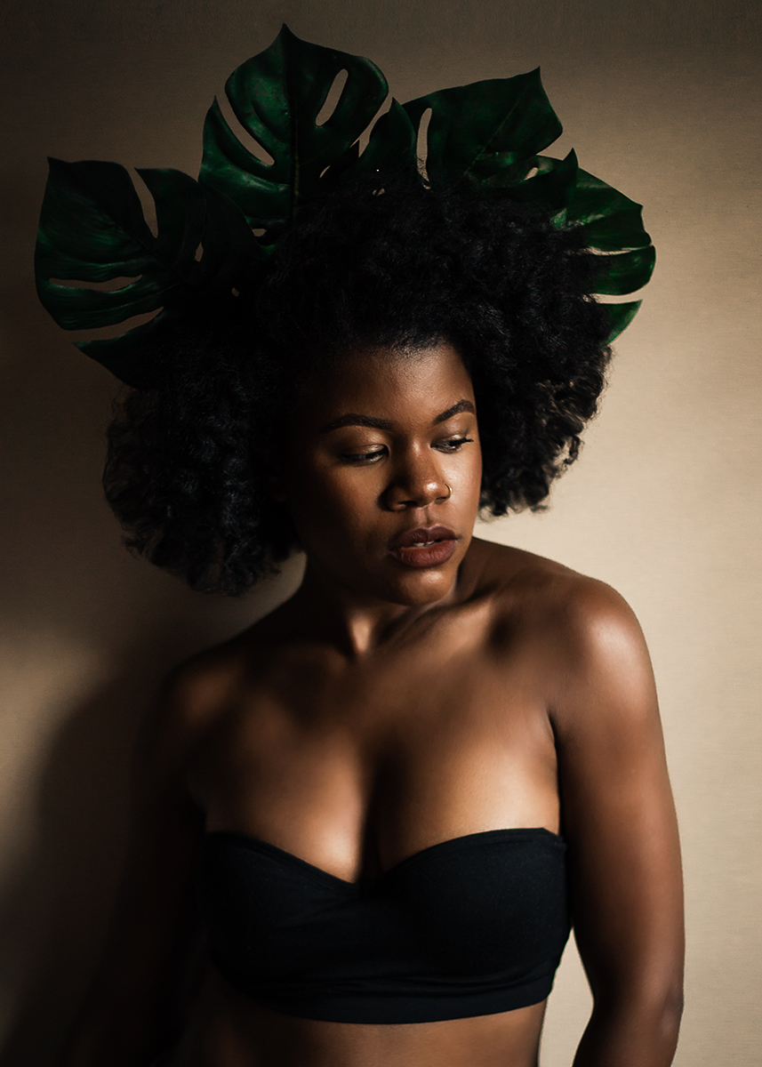 Black-woman-with-leaf-crown-natural-hair-by-Atlanta-photographer-Chanel-French