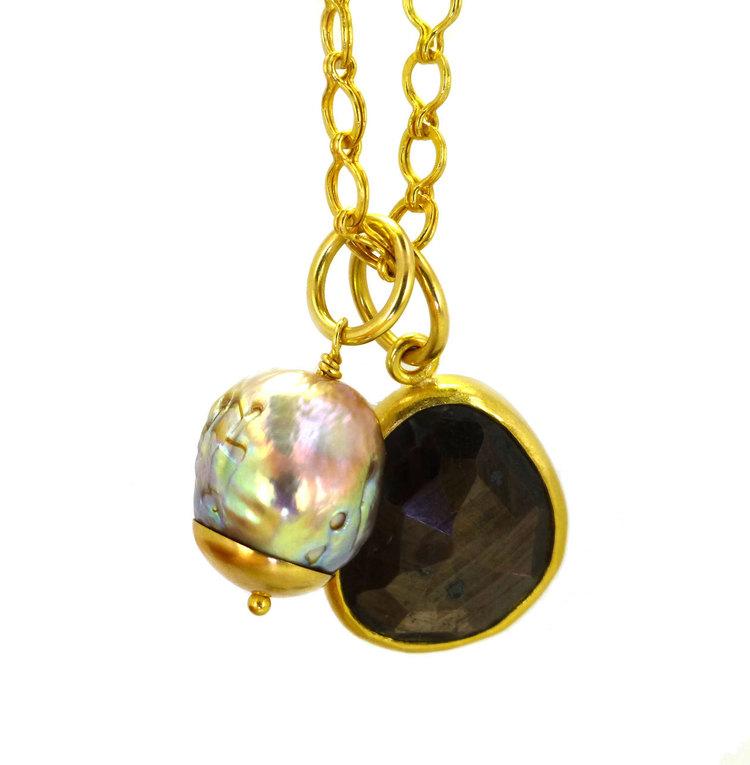 Gorgeous handmade 22k gold and black star sapphire pendant mia gorgeous handmade 22k gold and black star sapphire pendant aloadofball Choice Image