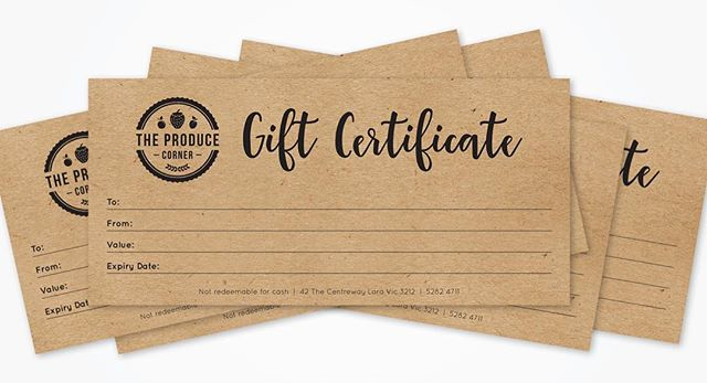 Gift certificates designed for The Produce Corner 👌 #design #mockup #graphicdesign #freelance #geelong #emecreative #local #localbusiness #buylocal #print #printdesign #graphics #brand #branding #marketing #gift #giftcertificate
