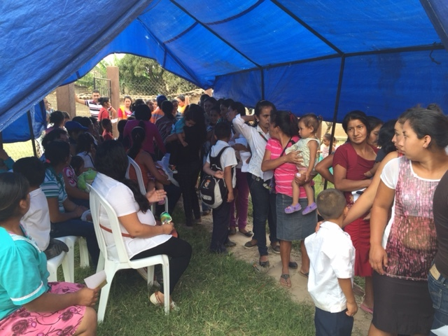 Families waiting in line to see the Pediatric Medical and Dental Teams