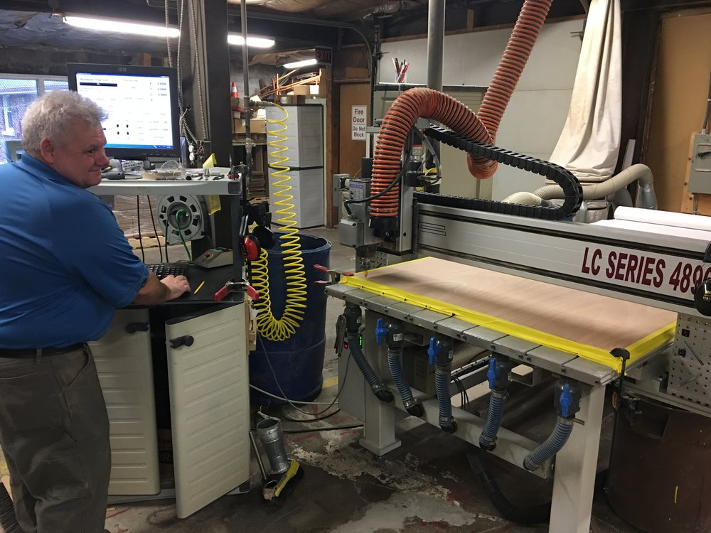 Here is how they make the chairs at Pro-Fab Plastics.  The patterns we will provide to local carpenters do not require this machinery, but its much faster if you have it!