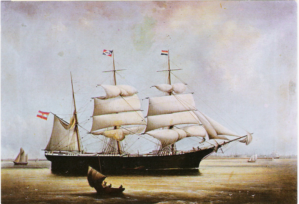 Barque  Isaak  constructed in 1870 with nearly the same dimensions as the  Stefano.  Courtesy Dubrovnik Maritime Museum