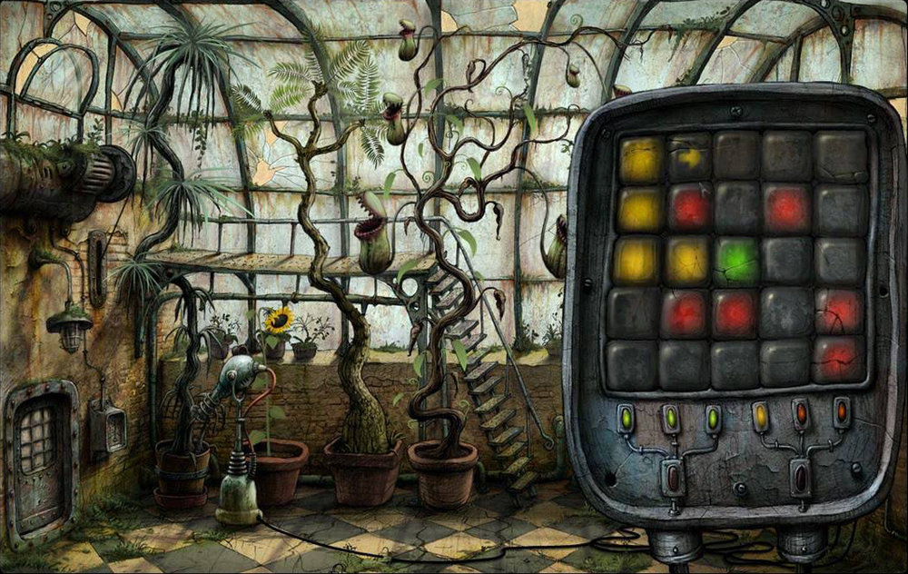 Machinarium's  greenhouse puzzles