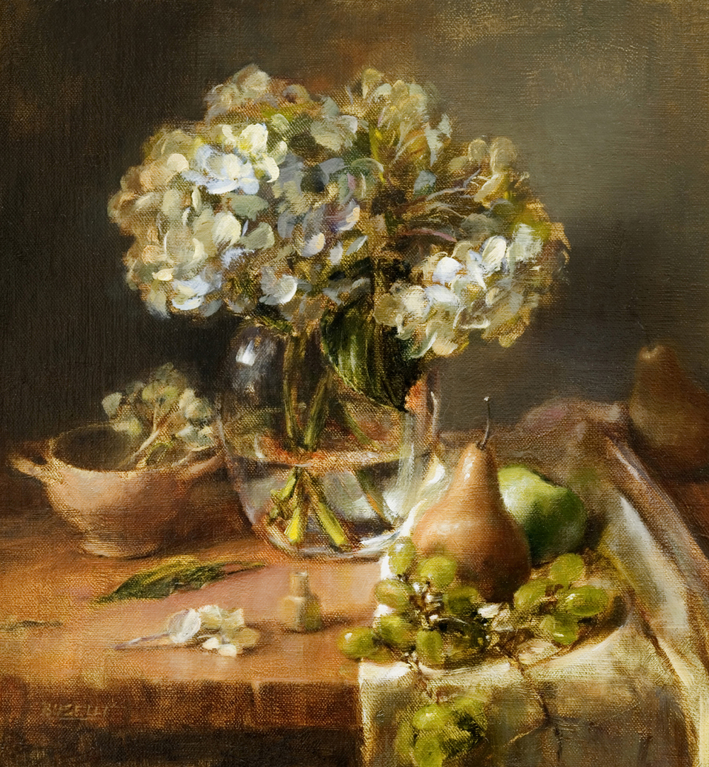 "HYDRANGEA WITH PEARS & GRAPES   oil on linen | 16"" x 15"""