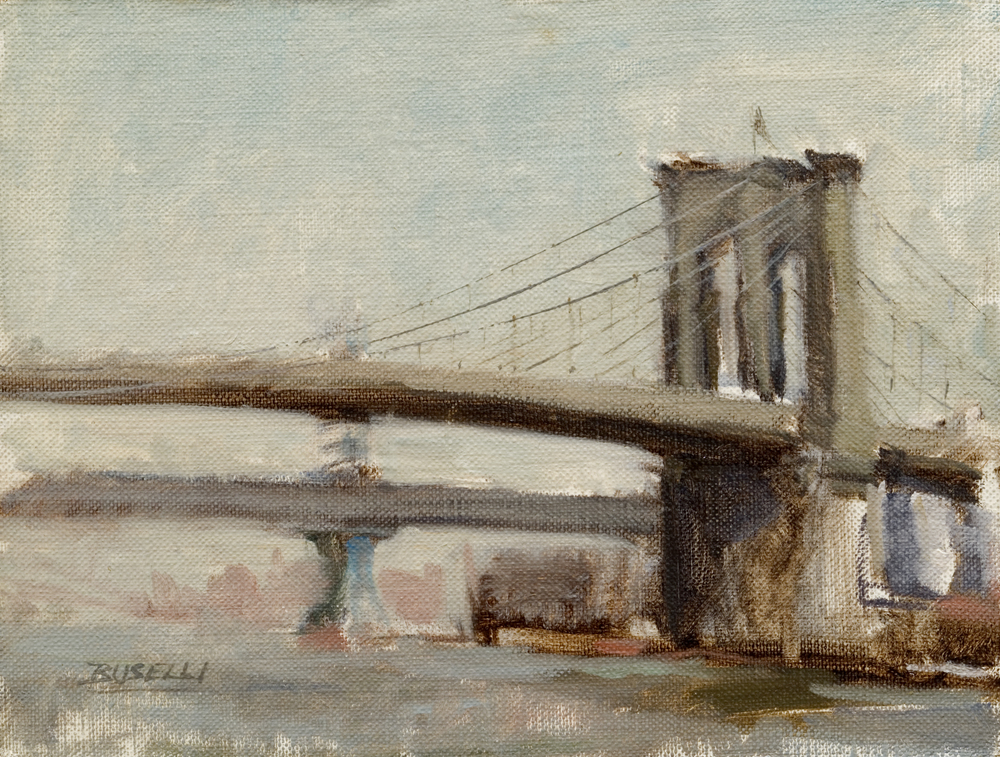 "THE BROOKLYN BRIDGE II  oil on linen      9"" x 12"""