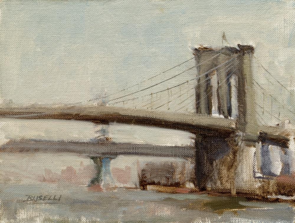 "THE BROOKLYN BRIDGE II  oil on linen   9"" x 12"""