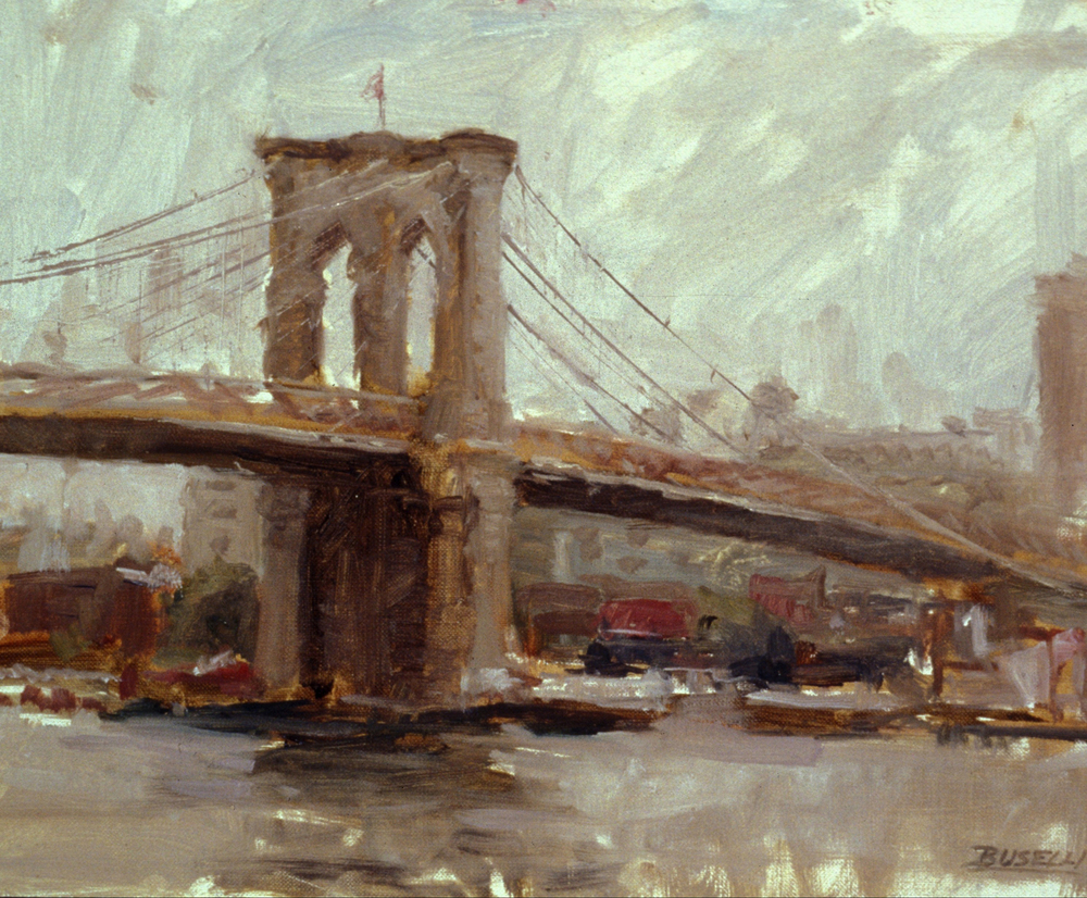 "THE BROOKLYN BRIDGE  oil on linen    9"" x 12"""