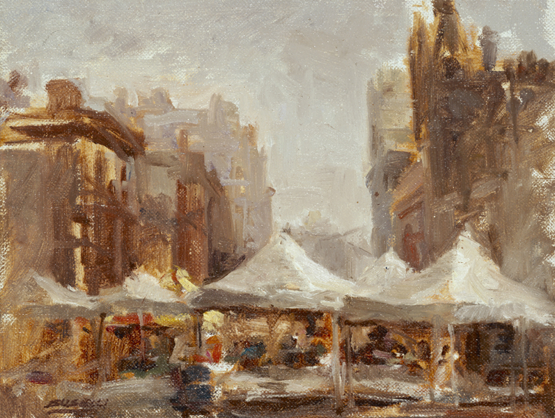 "UNION SQUARE, FARMERS' MARKET, NYC  oil on linen | 8"" x 10"""