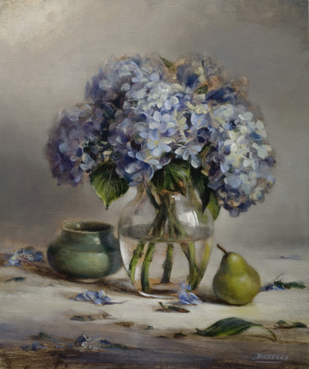 "BLUE HYDRANGEA   oil on linen | 18"" x 15"""