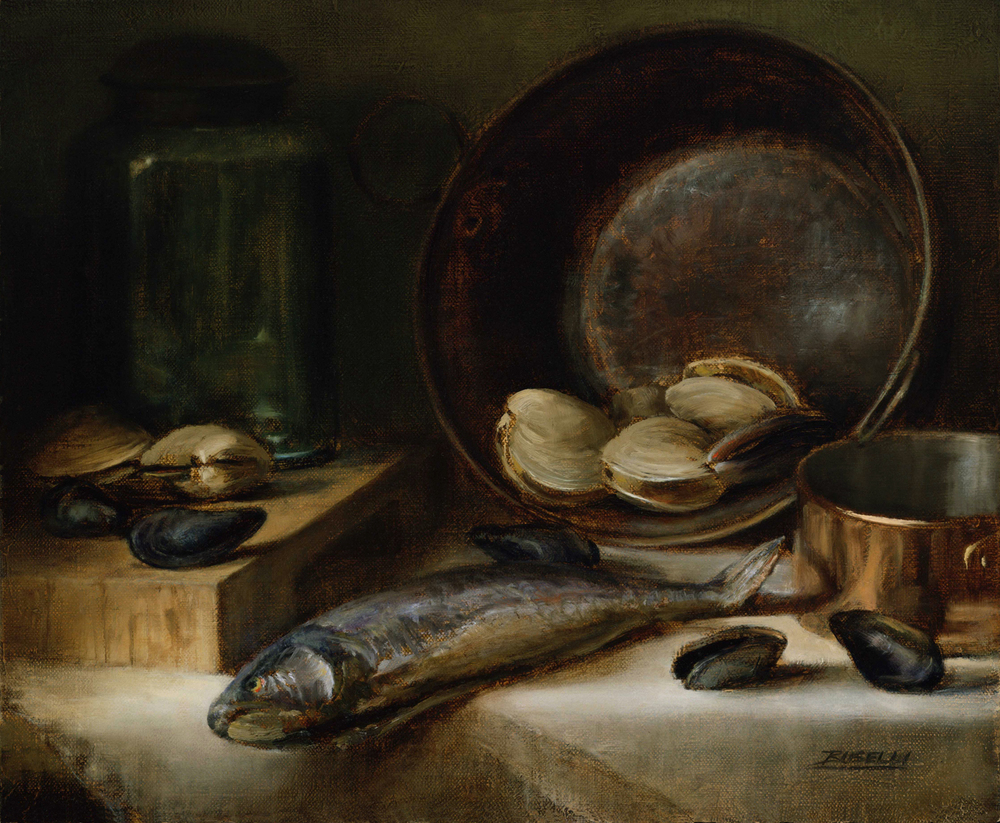 "TROUT & SHELLFISH   oil on linen      15"" x 18"""