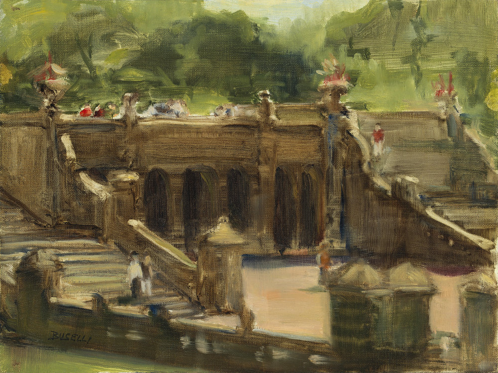 """BETHESDA STEPS, CENTRAL PARK, NYC  oil on linen 