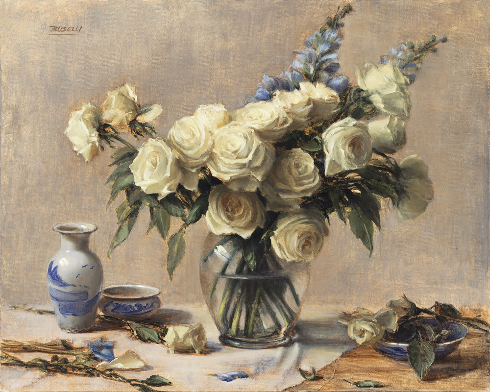 "WHITE ROSES & DELPHINIUMS  oil on linen |  24"" x 30"""