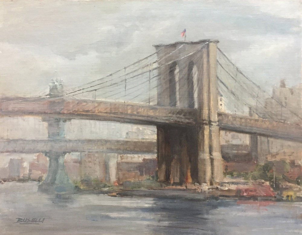 "Overcast Day at the Brooklyn Bridge  oil on linen | 11"" x 14"""