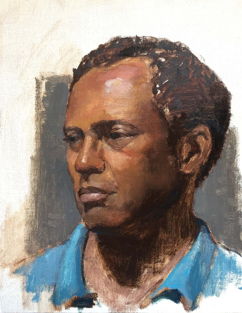 """SKETCH OF BRUCE""  oil on linen  