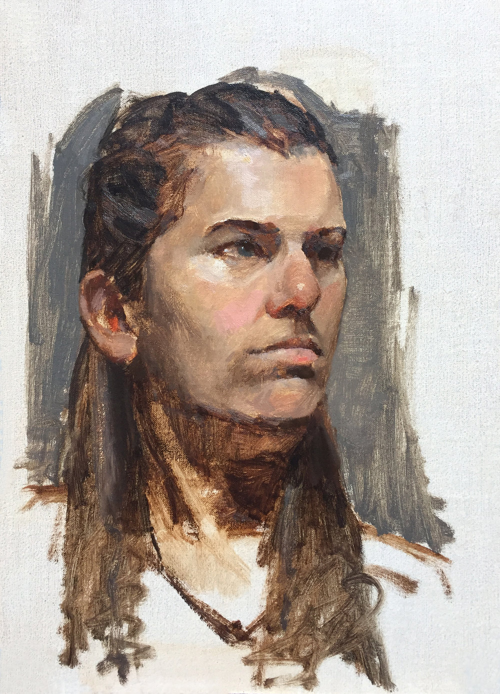 """SKETCH OF GIRL""  oil on linen 
