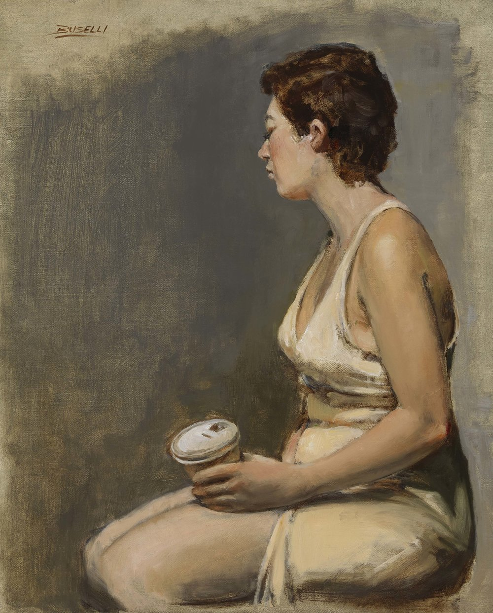 "CREAM & COFFEE  oil on linen | 15"" x 18"""