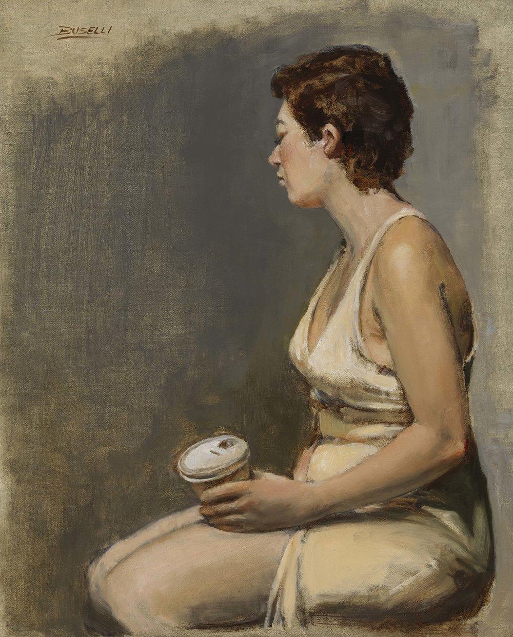 "CREAM & COFFEE  oil on linen | 15"" x 18"""