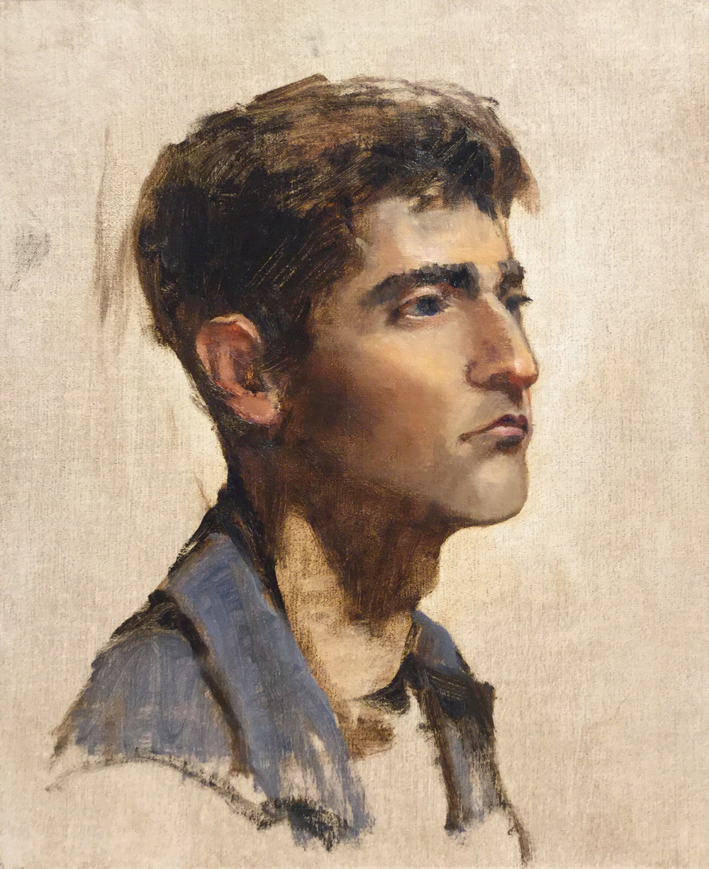 "PORTRAIT OF A YOUNG MAN  oil on linen  | 12"" X 10"""